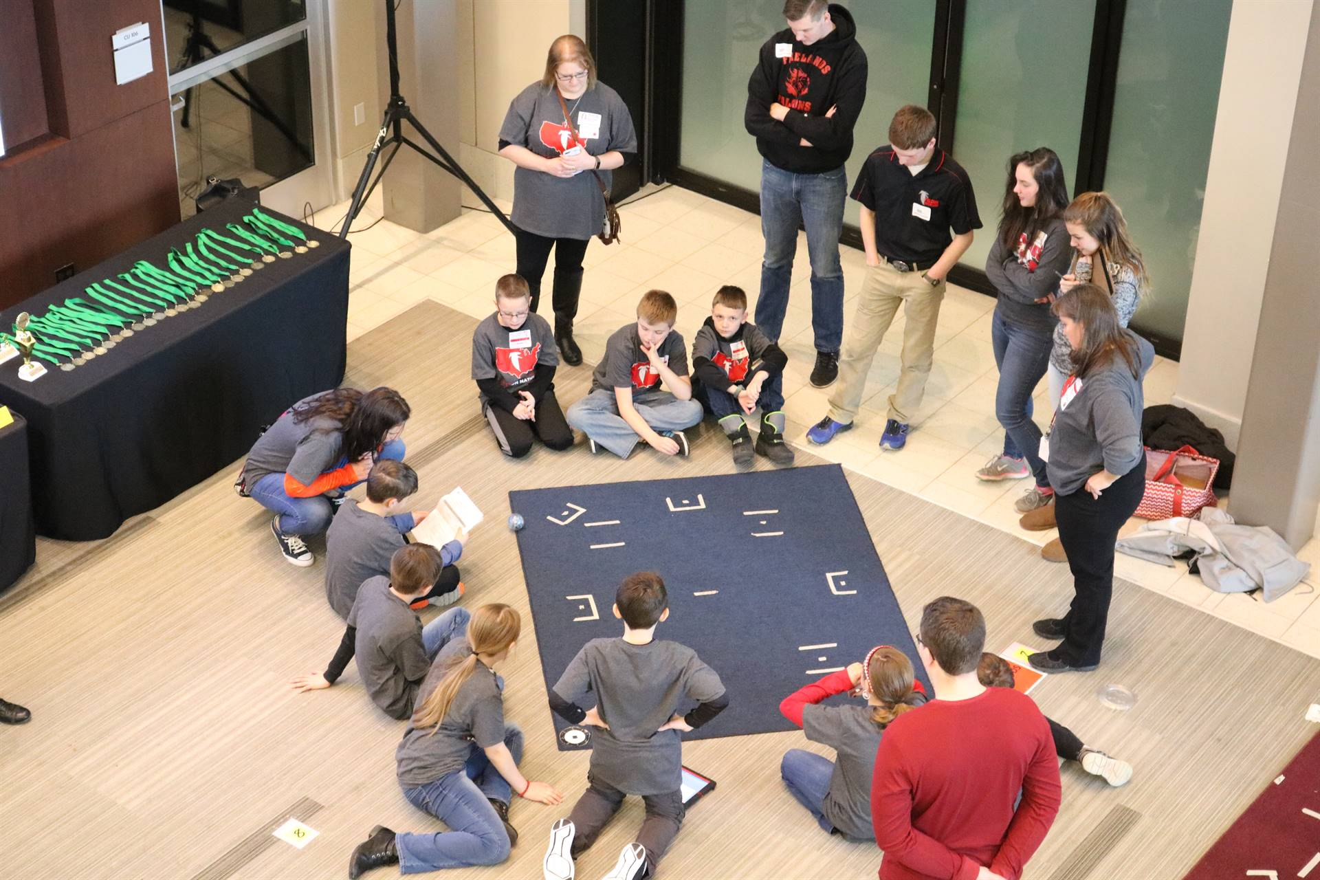 overlooking a group of students with sphero