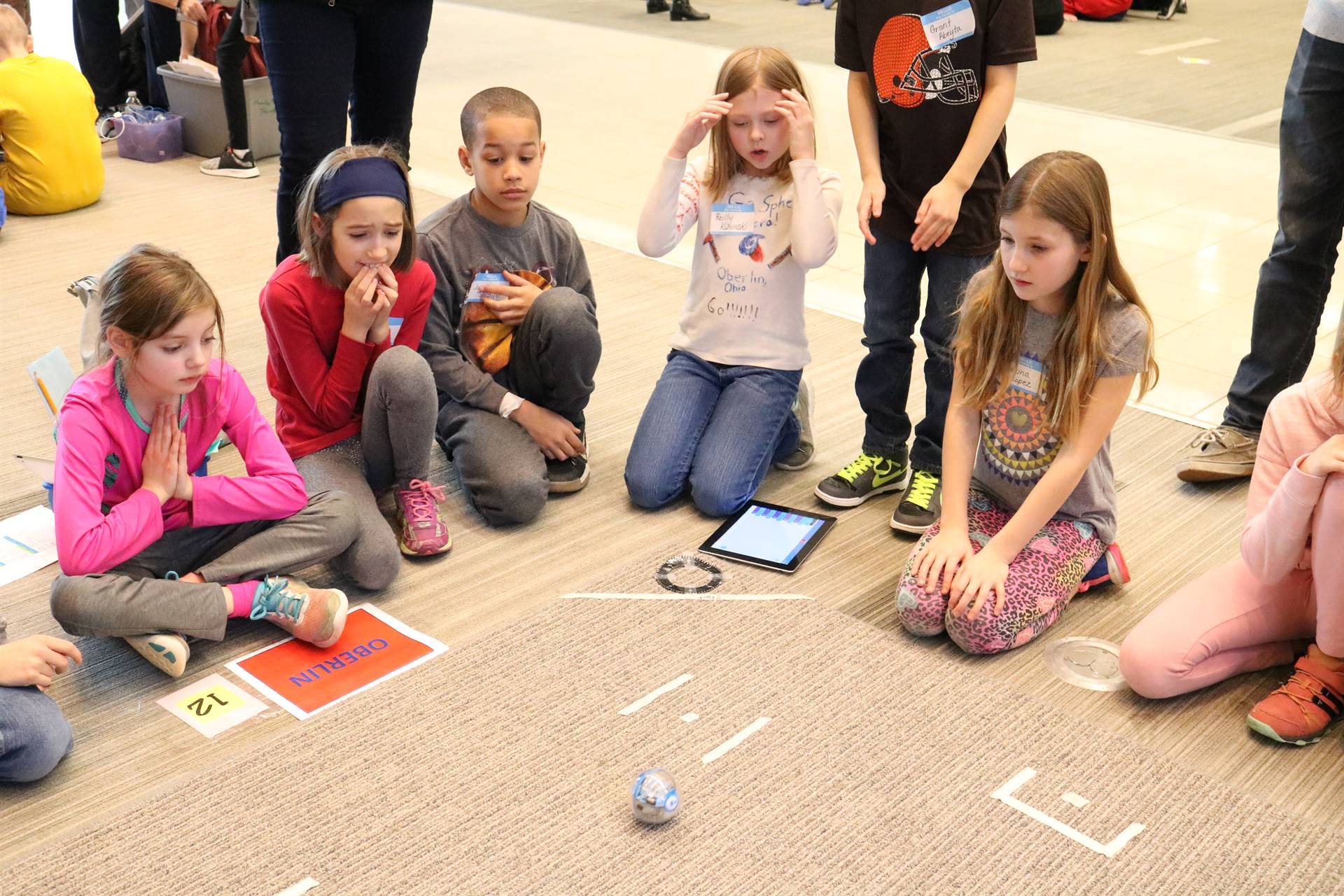 group of students with sphero