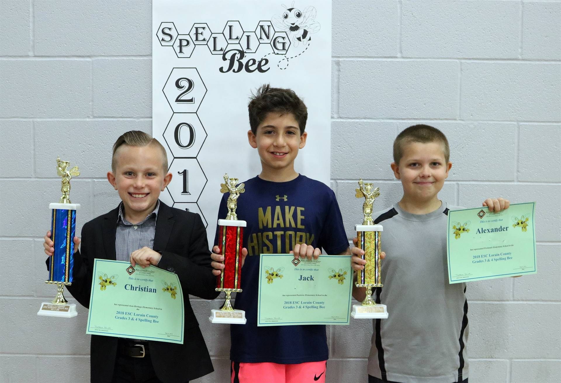 1st, 2nd, 3rd place winners for grades 3-4