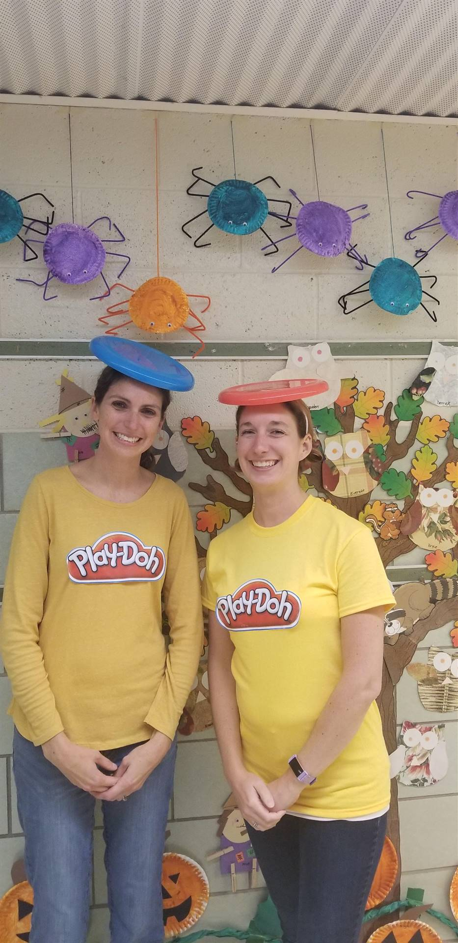 2 ladies with playdoh costumes