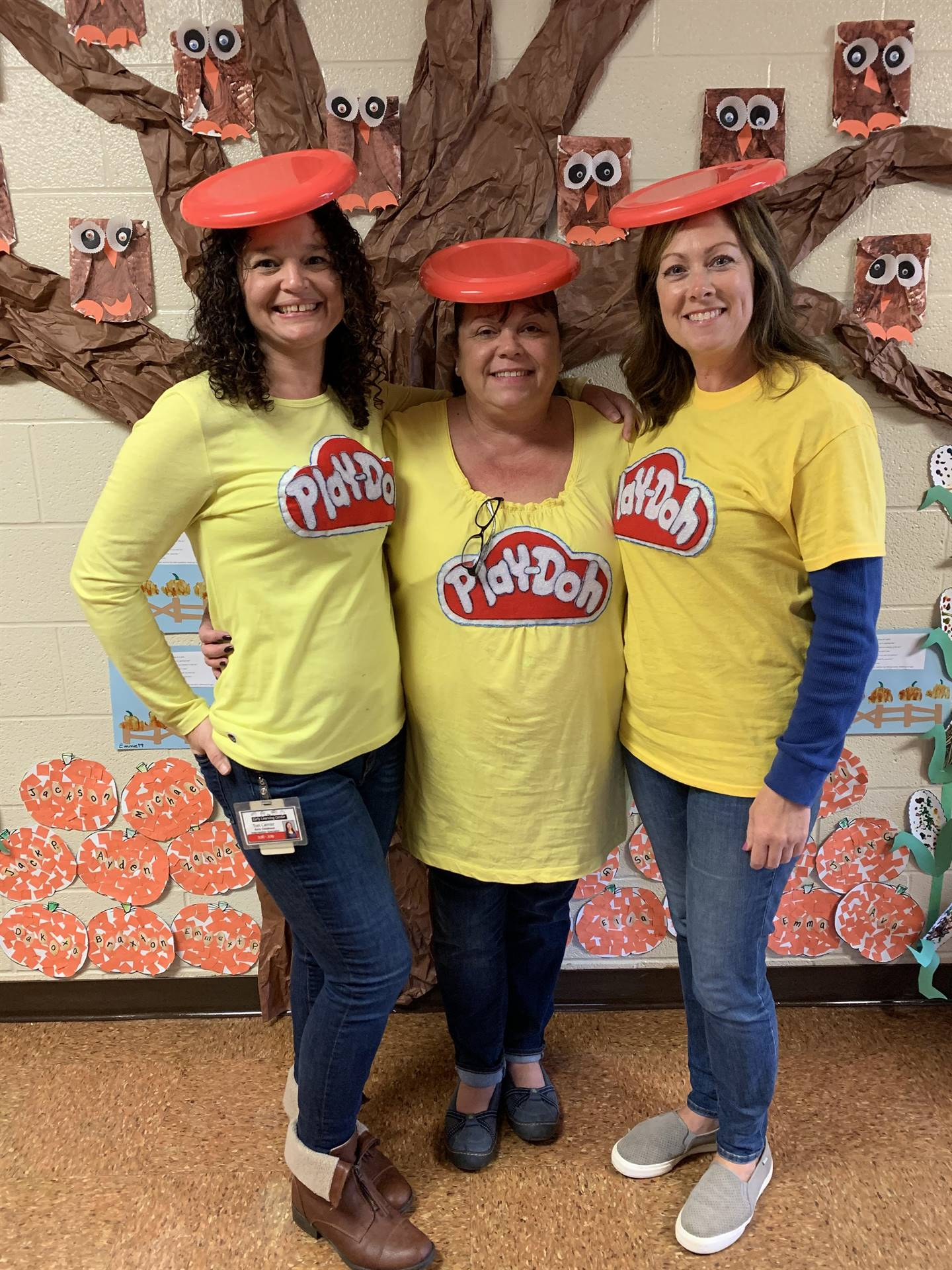 3 ladies with playdoh costumes