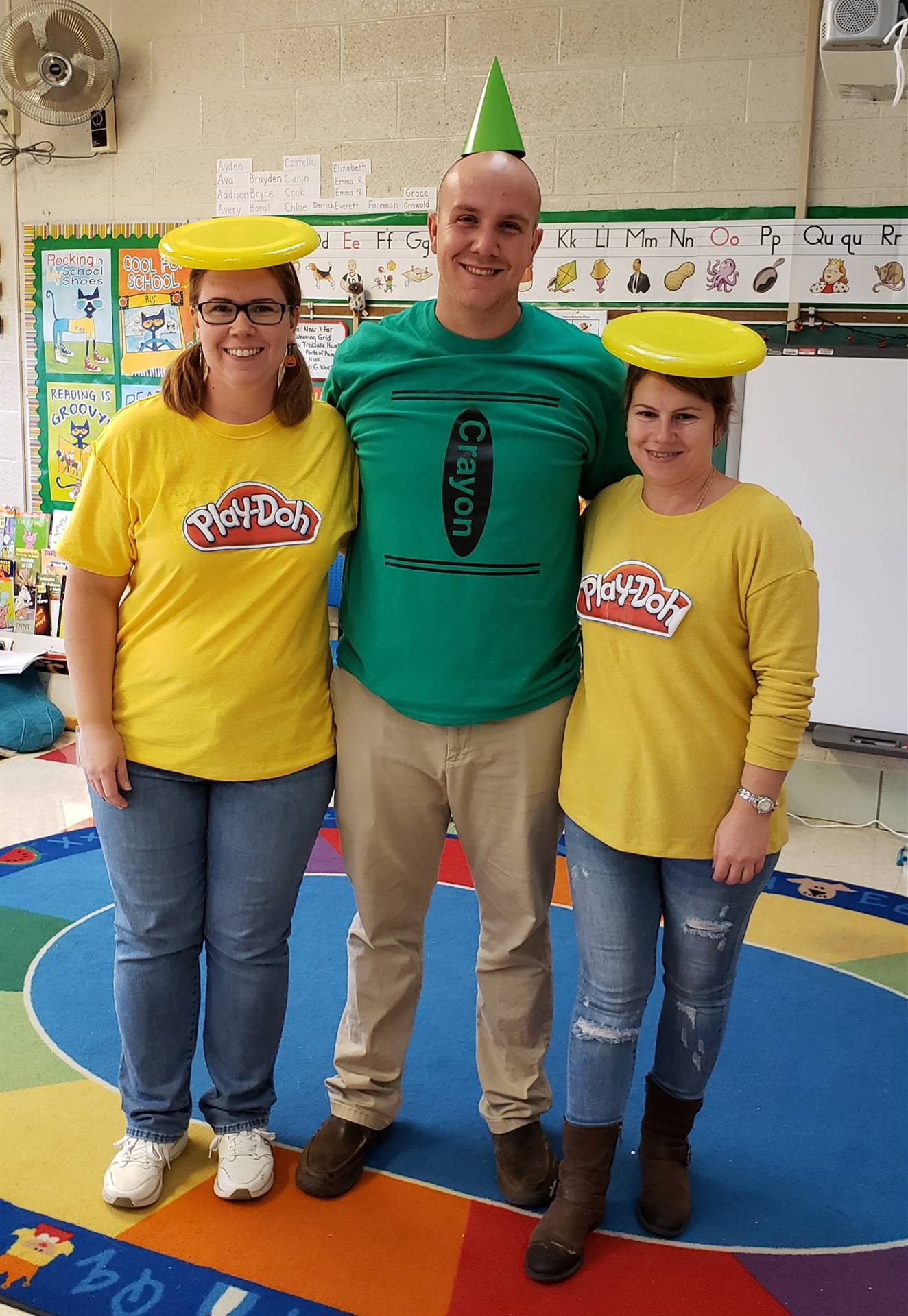 2 ladies and 1 guy with playdoh costumes