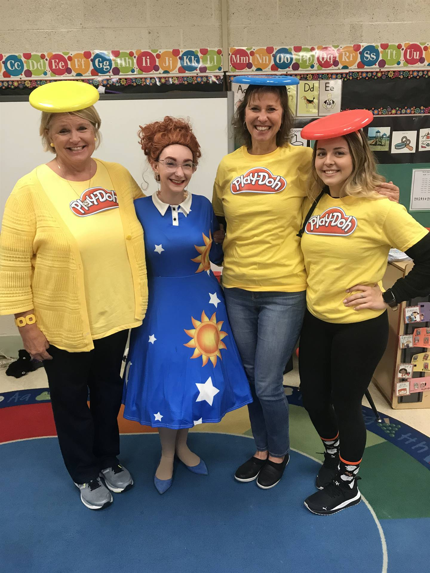 4 ladies with playdoh costumes