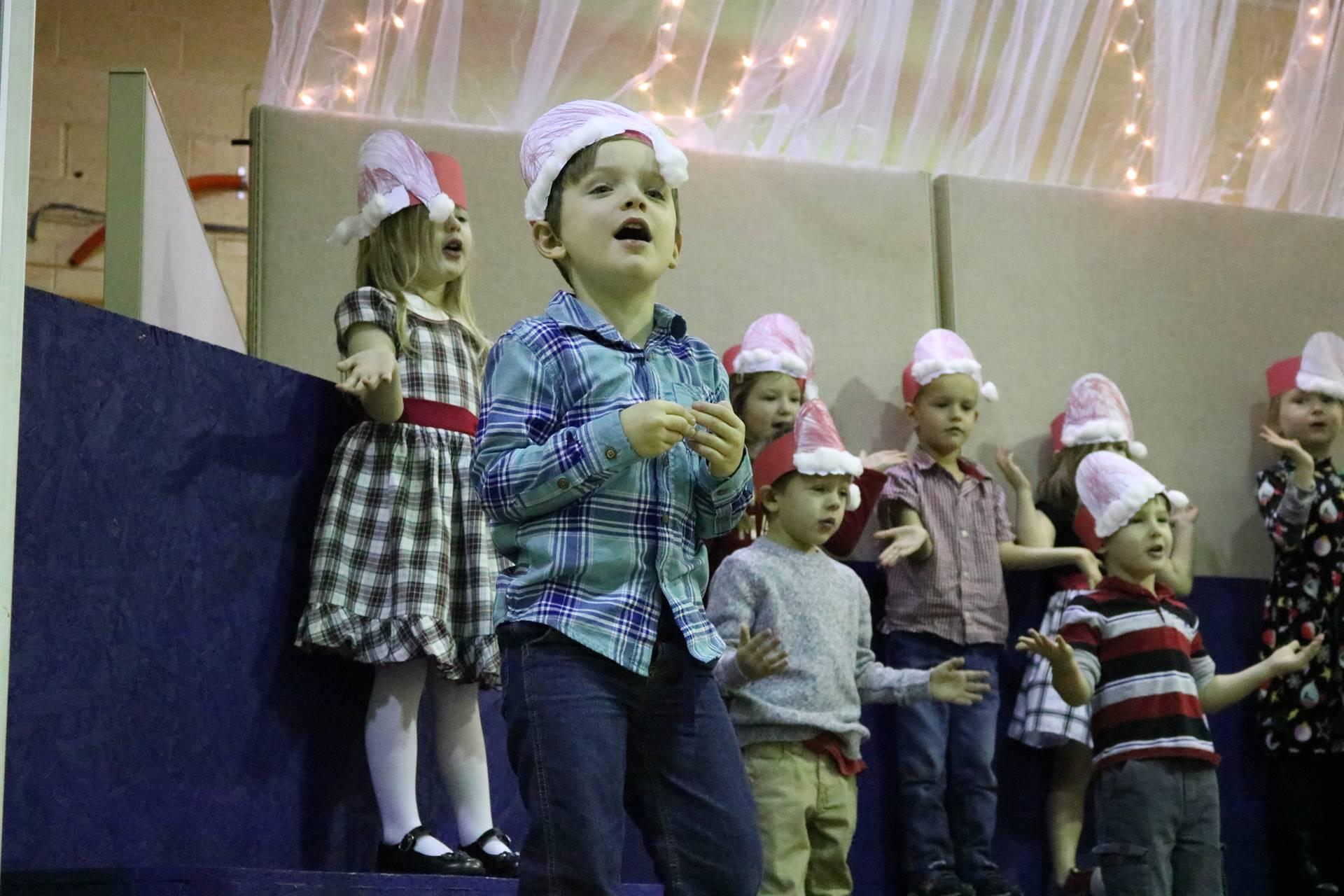 group of preschoolers singing