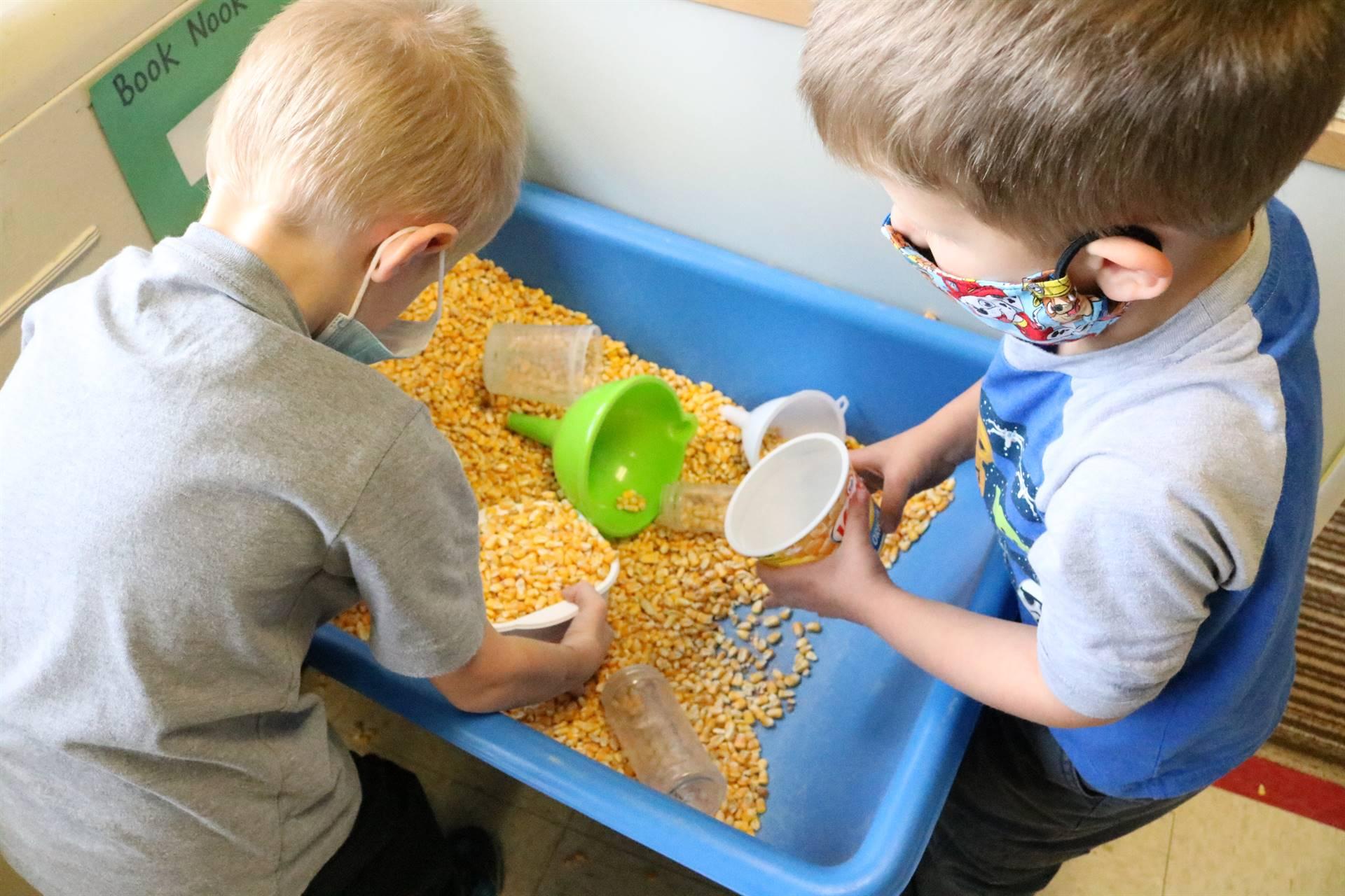 2 boys playing in corn