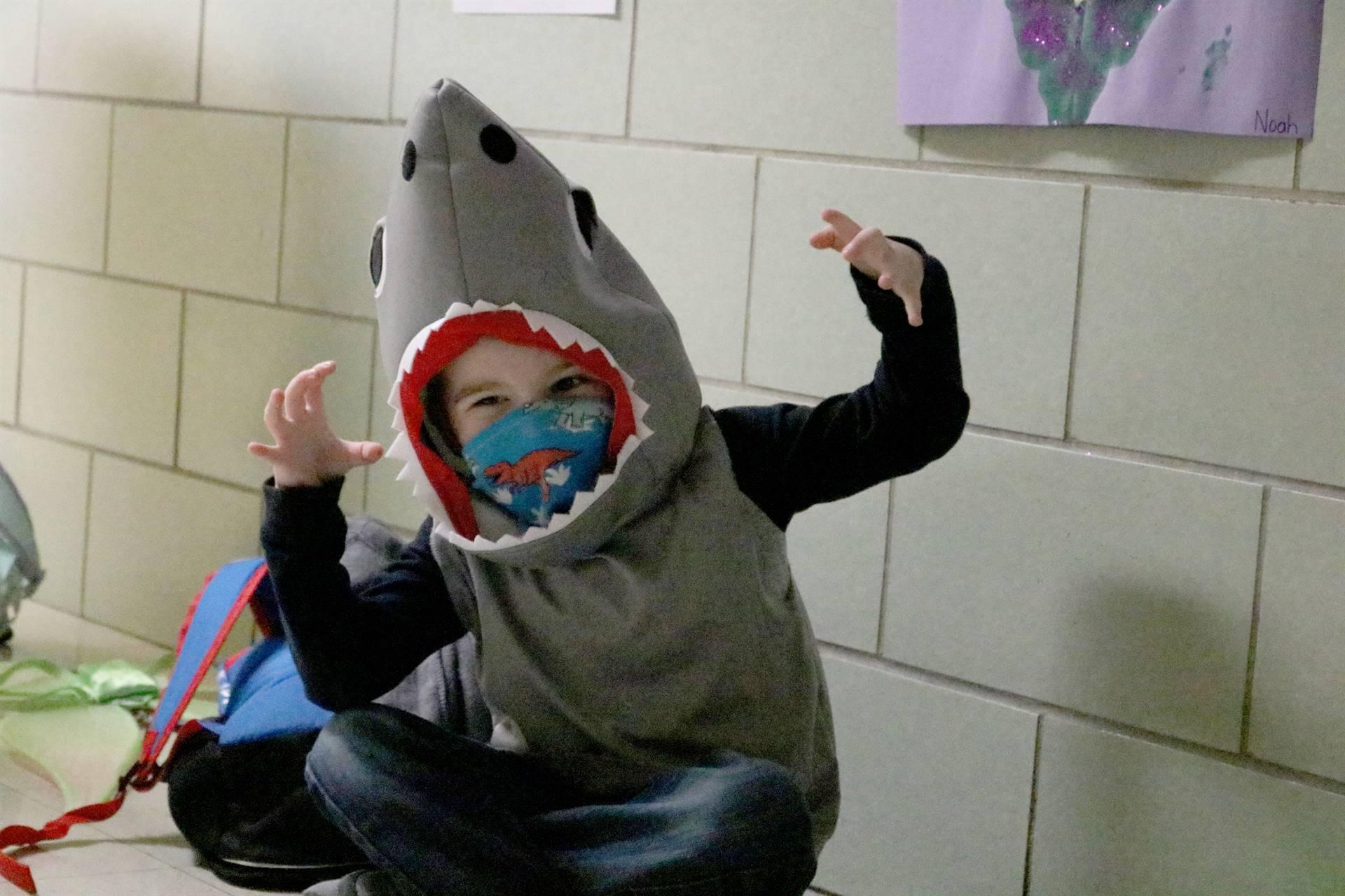 boy dressed as a shark