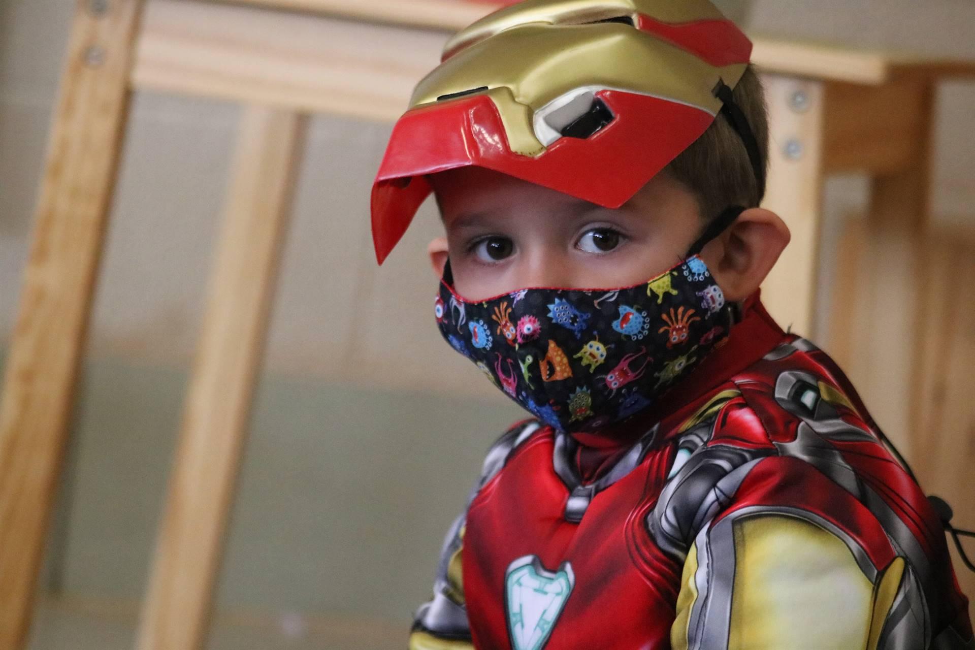 boy dressed as ironman